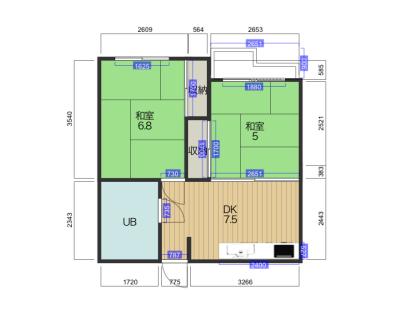 小禄マンション2DK 和室×2